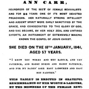 Ann's memorial recorded her dramatic life. Her grace has survived in a central Leeds cemetery.